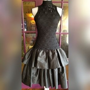 VINTAGE Solid Black Dress Open Back Full Skirt